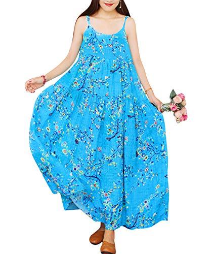 YESNO Women Casual Loose Bohemian Floral Print Dresses Spaghetti Strap Long Maxi Summer Beach Swing Dress XS-5X E75 (M, As Picture44-Blue)