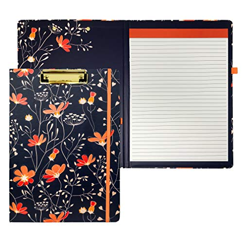 Steel Mill & Co Cute Clipboard Folio with Refillable Lined Notepad and Interior Storage Pocket, Stylish Navy Blue and Coral Clipfolio, Floral Vines