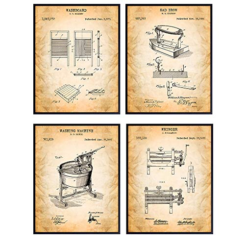 Laundry Room Patent Wall Art Prints - Unframed Set of Four - Stylish Home Decor - Makes a Perfect Easy Gift - Set of 4 - Ready to Frame (8x10) Vintage Photos