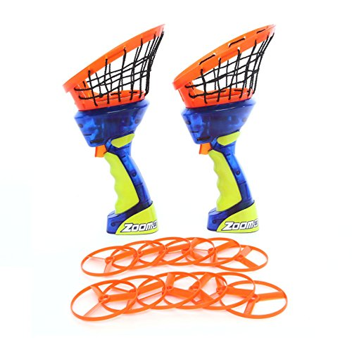 Zoom-O Flying Disc Launcher w/ Catch Net (2-Pack) | Catch and Shoot Plastic Discs Up to 100 Feet in Air | Fun Outdoor Toy for Boys and Girls