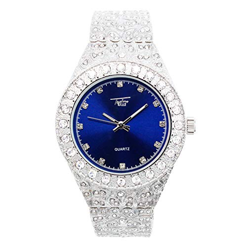 Mens 44mm Silver Hip Hop Iced Out Diamond Link Watch (Blue Dial) with Cubic Zirconia Crystals and Blinged Out Adjustable Strap - Nugget Band - Quartz Movement