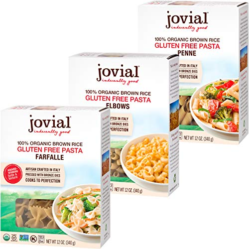 Jovial Farfalle Pasta   Jovial Elbows Pasta   Jovial Penne Rigate Pasta   Whole Grain Brown Rice Pasta   Gluten-Free   Non-GMO   Lower Carb   USDA Certified Organic   Made in Italy   12 oz Each (3-pack)
