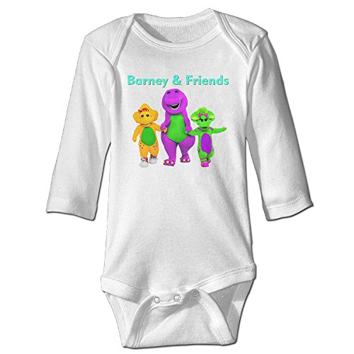 Baby 100% Cotton Long Sleeve Onesies Toddler Bodysuit Barney & Friends Jumpsuit Clothes White Size 24 Months