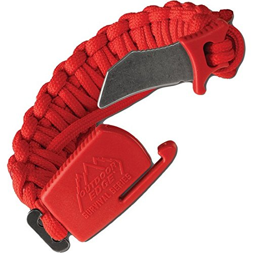 Outdoor Edge ParaClaw - Tactical EDC Paracord Knife Bracelet Trainer with Blunt 1.5' Hawkbill Blade -Red - Medium Only