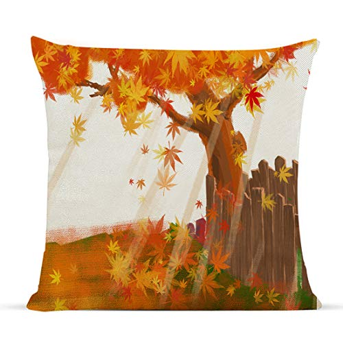 Diateklity Fall Maple Throw Pillow Covers 18x18 Inches Farmhouse Decoration for Couch Sofa Patio Cotton Linen Pillowcases