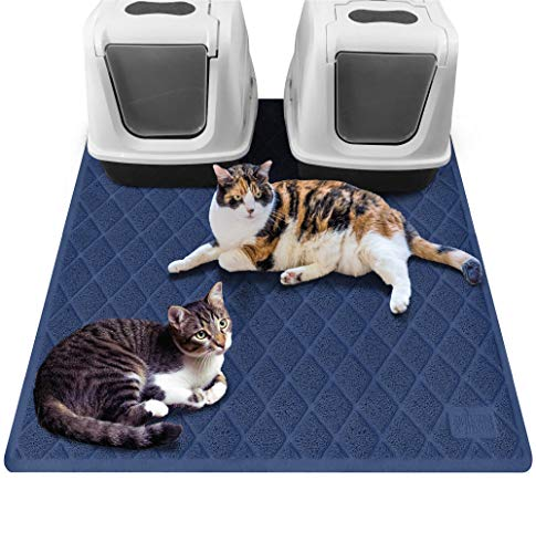 Gorilla Grip Original Premium Durable Multiple Cat Litter Mat, 47x35, XL Jumbo, Water Resistant, Traps Litter from Box and Cats, Scatter Control, Mats Soft on Kitty Paws, Navy