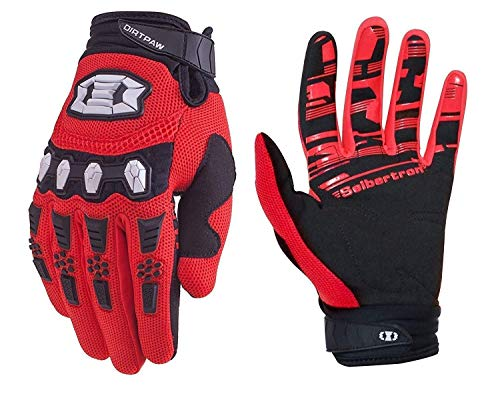 Seibertron Youth Dirtpaw BMX MX ATV MTB Racing Mountain Bike Bicycle Cycling Off-Road/Dirt Bike Gloves Road Racing Motorcycle Motocross Sports Gloves Touch Recognition Full Finger Glove Red XL