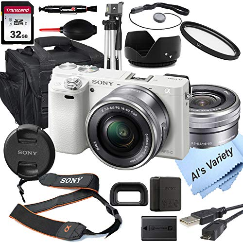 Sony Alpha a6000 (White) Mirrorless Digital Camera with 16-50mm Lens+ 32GB Card, Tripod, Case, and More (18pc Bundle)