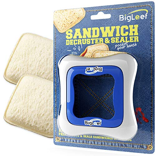 Sandwich Cutter, Sealer and Decruster for Kids - Remove Bread Crust, Make DIY Pocket Sandwiches - Non Toxic, BPA Free, Food Grade Mold - Durable, Portable, Easy to Use and Dishwasher Safe by BigLeef