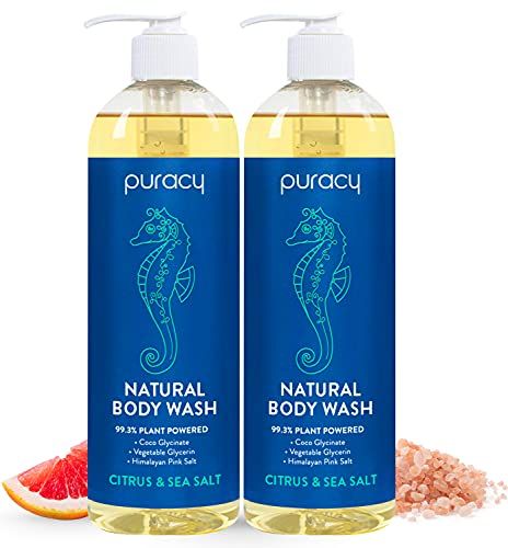 Puracy Natural Body Wash - Moisturizing Body Wash for Men & Women - Natural Body Wash with Coco Glycinate - Head to Toe Body Wash Shower Gel - Citrus & Sea Salt Body Wash 16fl.oz. [2-Pack]