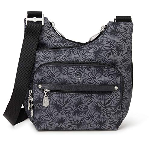 BG by Baggallini Charlotte Crossbody Bag - Stylish, Lightweight, Adjustable-Strap Purse With Multiple Pockets and RFID Protection, Lunar Bloom Flower Print