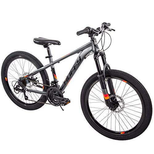 "TOUGH Handsome Fast Awesome Speed And Balance All Terrain Easy Care And Clean Reliable Huffy 24"" Scout Boys' DARK GRAY Hardtail 21-Speed Mountain Bike with Disc Brakes - Ready For Anytime Anywhere Act"