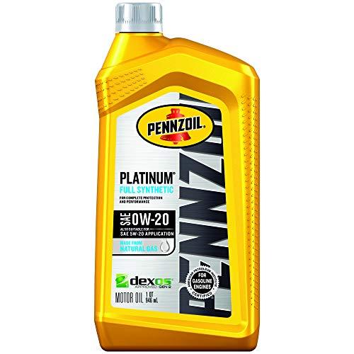 Pennzoil (550036541-6PK Platinum Full Synthetic 0W-20 Motor Oil - 1 Quart, (Pack of 6)