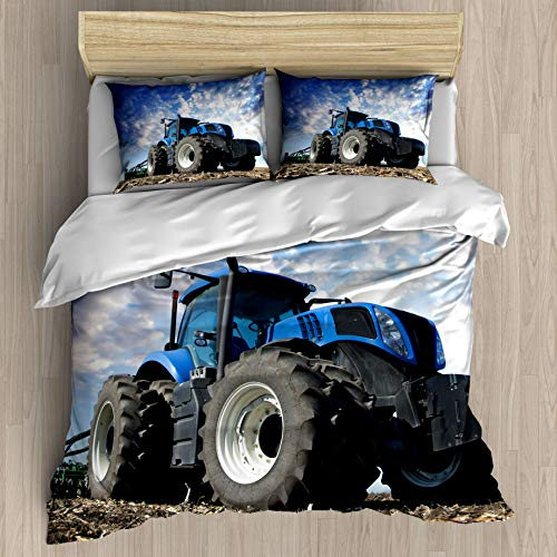 FEIDANNO Farm Tractor Duvet Cover Set Twin Size,Clear Sky Tractor harvesting Scene on Farm,Decorative 3 Piece Bedding Set with 2 Pillow Shams,(Blue,Twin)