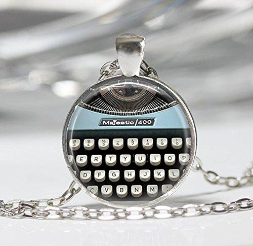 Blue Typewriter Keys Necklace,Typewriter Keys Jewelry Writer Jewelry
