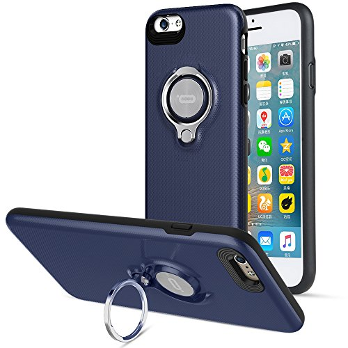 Compatible Phone case for iPhone 6 Plus Case with Ring Kickstand by ICONFLANG, 360 Degree Rotating Ring Grip Case for iPhone 6 Plus Dual Layer Shockproof Impact Protection iPhone 6+ Case (Dark Blue)