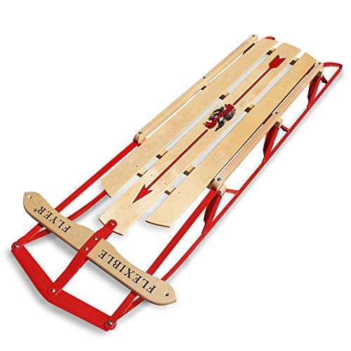 Flexible Flyer Large Steel Runner Sled. Metal & Wood Steering Snow Slider. Adult 60'