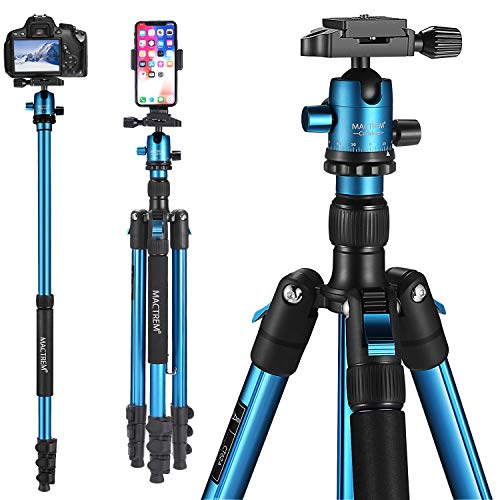 MACTREM Professional Camera Tripod DSLR Tripod for Travel, Super Lightweight and Reliable Sturdy, Ball Head Tripod Detachable Monopod with Phone Mount Carry Bag, 21.5' to 62.5', 33lb Load