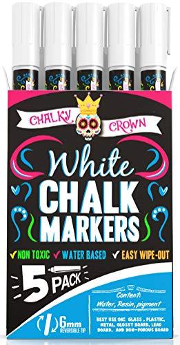 Liquid Chalk Marker Pen - White Dry Erase Marker - Chalk Markers for Chalkboard Signs, Windows, Blackboard, Glass - 6mm Reversible Tip (5 Pack) - 24 Chalkboard Labels Included