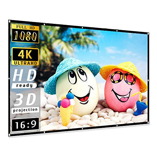 Projector Screen 100 inch, Taotique 4K Movie Projector Screen 16:9 HD Foldable and Portable Anti-Crease Indoor Outdoor Projection Double Sided Video Projector Screen for Home, Party, Office, Classroom