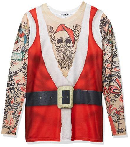 Faux Real Men's 3D Photo-Realistic Ugly Christmas Tattoo Sweater Long Sleeve T-Shirt, Santa Tank Tattoowb-Mt-RNUM-WRNUM, 4XLB (Big)