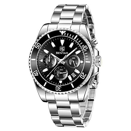 BENYAR - Stylish Wrist Watch for Men, Genuine Stainless Steel Strap, Perfect Quartz Movement, Waterproof and Scratch Resistant, Analog Business Watches