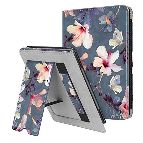 Fintie Stand Case for Kindle Paperwhite (Fits All-New 10th Generation 2018 / All Paperwhite Generations) - Premium PU Leather Protective Sleeve Cover with Card Slot and Hand Strap, Blooming Hibiscus