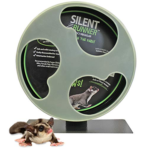 Exotic Nutrition Silent Runner Glow Wheel - 12' Regular - Silent, Fast, Durable Exercise Wheel - Sugar Gliders, Hamsters, Female Rats, Mice & Small Pets