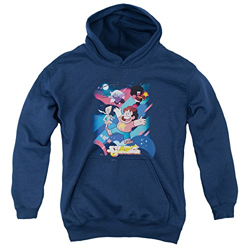 Steven Universe Group Shot Unisex Youth Pull-Over Hoodie for Boys and Girls, Medium Navy