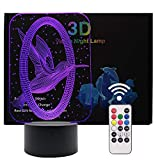 3D Illusion LED Night Light,7 Colors Gradual Changing Touch Switch with Remote Control USB Table Lamp for Kids Gift or Home Decorations (Bird)
