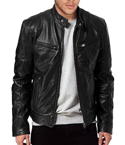 Laverapelle Men's Sword Black Genuine Lambskin Leather Biker Jacket (Black, Medium, polyester Lining) - 1501533