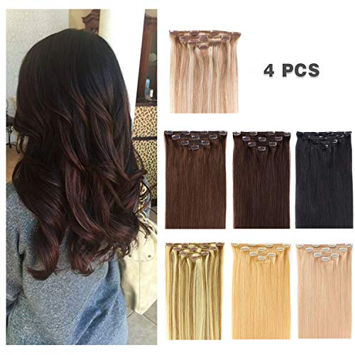 16' Clip in Hair Extensions Remy Human Hair for Women - Silky Straight Human Hair Clip in Extensions 55grams 4pieces #18-613 Color