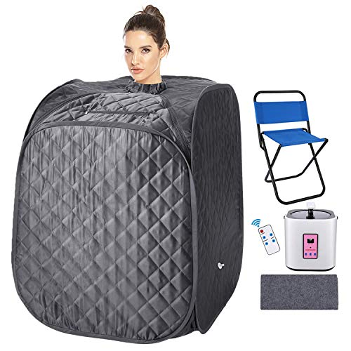 usuallye Steam Sauna Spa 2L Portable Foldable Personal Therapeutic Sauna Tent Pot for Weight Loss Detox Reduce Stress Fatigue with Remote Chair Indoor Home (Gray)
