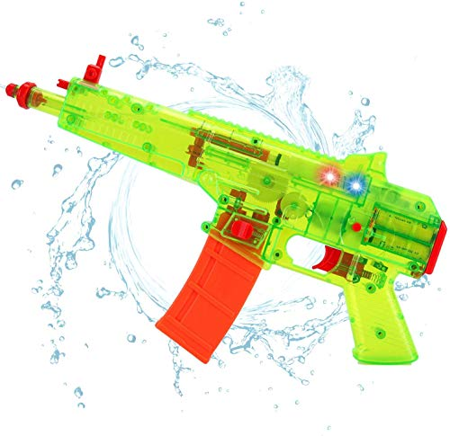 Battery Operated Motorized Automatic Electric Super Water Gun Soaker Blaster Kids Toy (Green)