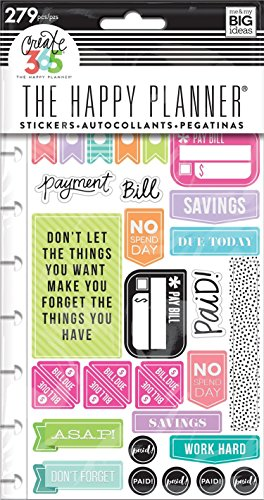 me & my BIG ideas PPSP-84 Create 365 The Happy Planner Snap in Sticker Pad, Get Paid