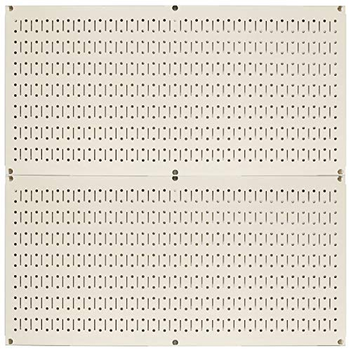 Wall Control Pegboard Rack Horizontal Metal Pegboard Garage Tool Storage Pack - Two 32-Inch Wide x 16-Inch Tall Easy to Install Peg Boards (Beige)