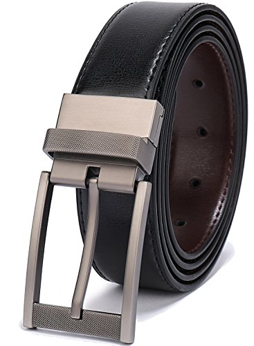 Belts for Men Reversible Leather 1.25' Waist Strap Fashion Dress Buckle Beltox(40-42,Sub-brushed Buckle Black/Brown)