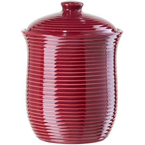 Oggi Medium Cranberry Red Ceramic Ribbed Food Storage Canister