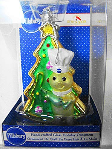 Kurt Adler Vintage Holiday Pillsbury_Doughboy with Christmas Tree Handmade & Painted Mouth Blown European Style Polonaise Glass 5' H Ornament-Nib