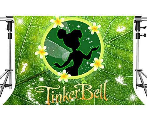Green Leave Background for Beautiful Girl Party MEETSIOY Cartoon Pixie Hollow Backdrop Photo Booth Banner for Cake Table Supplies 7x5ft ZYMT0988