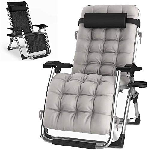 HITO Outdoor Lounge Chairs Sun Loungers Zero Gravity Chairs Adjustable Padded Lounger Chair with a Cup Holder, Soft & Comfortable, Supports Over 440lbs/200kg