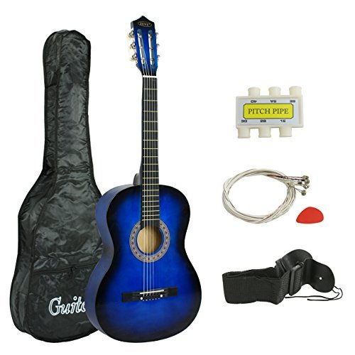 ZENY 38 inch Acoustic Guitar Full Size Beginners Package Kit for Right-handed Starters Kids Music Lovers w/Case, Strap, Pitch Pipe and Pick (Blue)