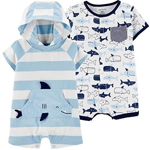 Carter's Baby Boys 2-Pack Snap-up Rompers (Multi Blues, 18 Months)