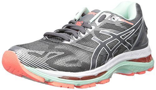 ASICS Women's Gel-Nimbus 19 Running Shoe, Carbon/White/Flash Coral, 6.5 M US