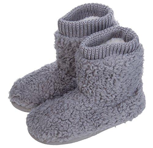 MIXIN Women's Warm Faux Indoor Outdoor Slipper Boots [ Grey,7-8 M US ]