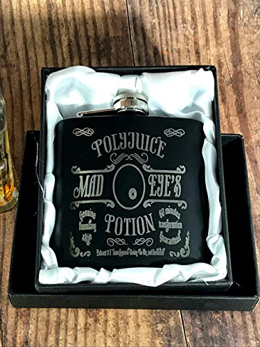 PolyJuice Potion, Mad Eye Moody Black Flask with Gift Box Shot Drinking of Alcohol, Whiskey, Rum and Vodka | Gift for Men