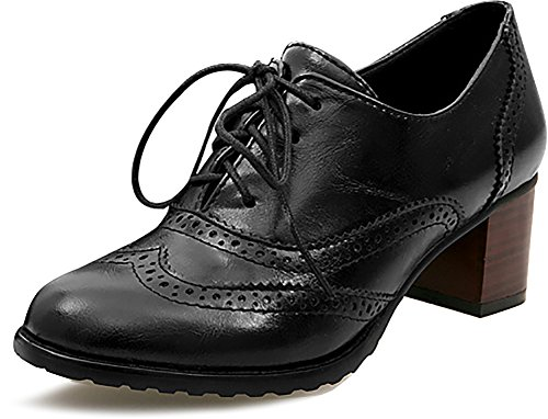 Odema Womens PU Leather Oxfords Wingtip Lace up Mid Heel Pumps Shoes Black