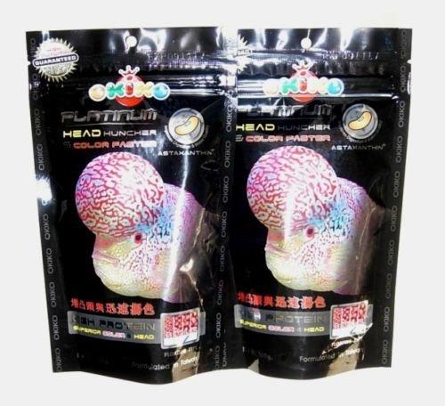 OKIKO 2X FLOWERHORN Cichlid Fish Food Platinum Head HUNCHER Color Faster HIGH Protein 3.52 Oz