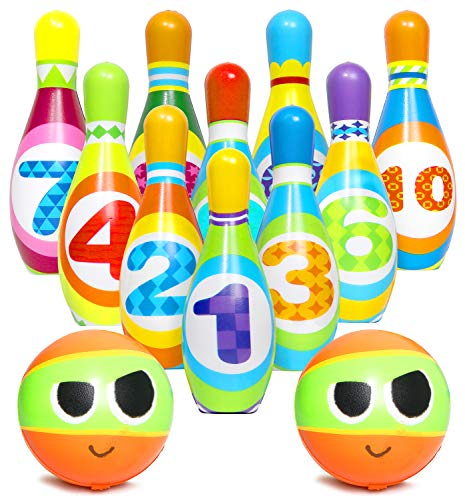 Kiddie Play Kids Bowling Set Indoor Foam Bowling Game Kids Toys Age 2, 3, 4, 5 Years Old Boys and Girls (10 Pins and 2 Balls)