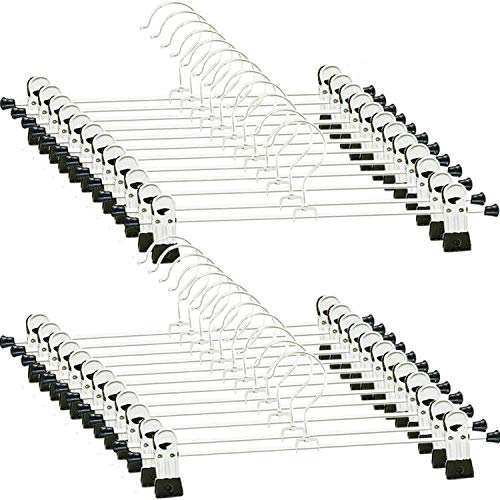 Pants-Hangers-Skirt-with-Clips 24 PCS Skirt Hangers Pants Hanger with Clips Metal Pant Hangers Space Saving for Pants Skirts Clothes